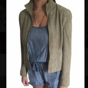 Chanel Olive Green Suede Jacket